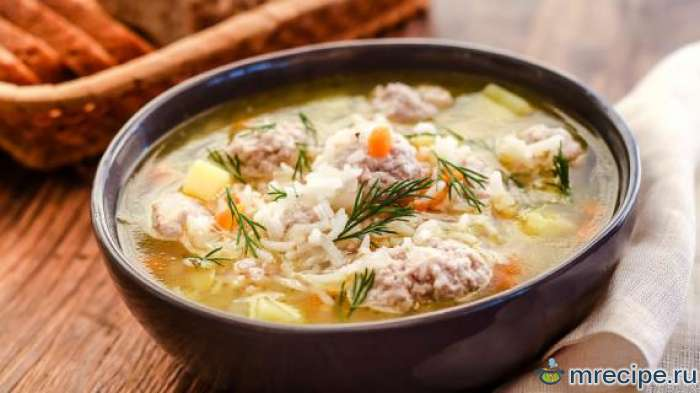 Овощной суп с мясом и рисом